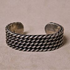 Sterling Silver 5 Rows of Twisted Silver Cuff Bracelet