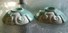 Weller Pottery Candle Holders Pair Small Green & White
