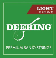 Deering Banjo Strings Light Gauge 10 11 13 21w 10 Loop Ended 5-String Banjo