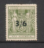 NEW ZEALAND....  1940 arms  3/6 on 3/6 serifed letters  used