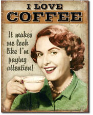 Coffee paying attention Metal tin sign coffee lovers garage Wall decor new