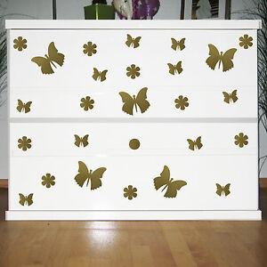 25 Aufkleber gold Schmetterlinge & Blumen Kinder Zimmer Schrank Komode Dekofolie