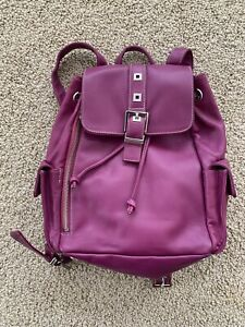 Vintage Perlina Pink Magenta Purple New York Leather Backpack Purse Handbag