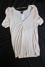 New Women's H&M Stretch Shirt Top Blouse Solid Ivory Size Large Ruffle Sleeves