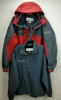 Columbia Mens Omni Tech Titanium Interchange 3 1 Jacket Coat Large Red Gray Hood