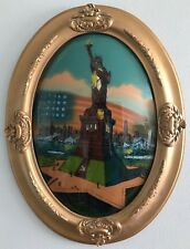 """Antique Statue of Liberty Reverse Painting on Oval Convex Glass Framed 24"""" x 19"""""""