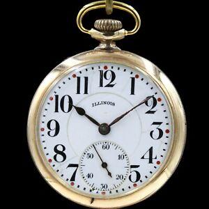 "Gold 1923 Illinois ""TIME KING"" 17 Jewel Mechanical Pocket Watch Grade 305 16s"