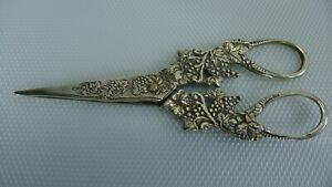 Antique / Vintage All Solid Silver 800 Grape Shears Scissors