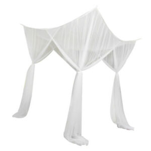 4 Post Bed Canopy Drape Netting Mosquito Net for Girls Bedroom Decor White