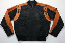 harley davidson racing jacket XS nylon black orange bar shield 97068-00V zip up