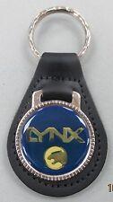 Vintage Blue Mercury LYNX Black Leather USA Keyring Key Fob Key Holder