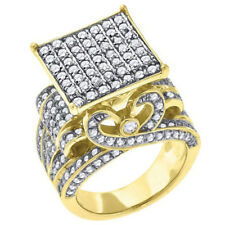 Big Bold Mens Ring Real 10K Yellow Gold On Sterling Silver Diamond Band Mens Big
