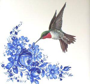 """Red Throat Hummingbird with Blue Ceramic 4.25"""" Accent Tile Kiln Fired Decor"""