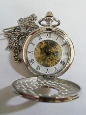 """Silver Skeleton Dial Mechanical Wind-up Pocket Watch Roman Numerals 12"""" Chain!"""