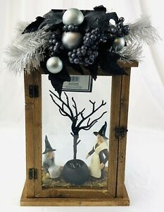 Rustic Halloween LED Lighted Wooden Lantern Metal Handle  Witches Conjuring