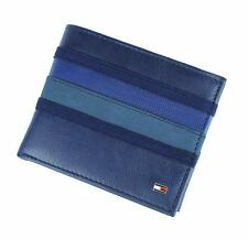 New Tommy Hilfiger Men's Cobalt Leather Passcase Double Billfold Wallet & Valet