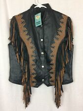 Fringed LEATHER Biker VEST by Diamond Plate Black Brown Studed Snaps Size M