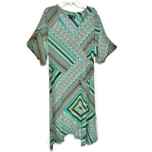 Rafaella Dress Slinky Knit Handkerchief Hem Floral Self Belt Plus Size 3X