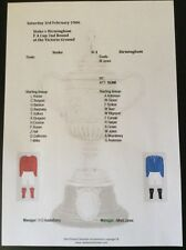 1905-06 Stoke v Birmingham FA Cup 2nd Round matchsheet
