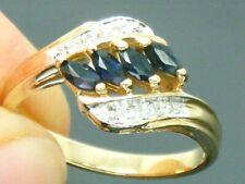 9ct Gold Sapphire & Diamond Hallmarked Cluster ring size L