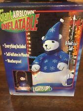 Huge Gemmy Airblown Inflatable Polar Bear, 8 Ft Christmas Time Decor Yard