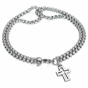 925 Silver Cross Cuff Bracelet Men Adjustable Stainless Steel Bangle Jewelry Hot