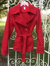 H&M LOGG Womens Corduroy Jacket Button Up Lined Belted Size 8 Red