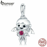 Bamoer S925 Sterling Silver charms Small boy dangle with clear cz Fit Bracelet