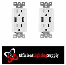 2pc 15 Amp Decora Combination Duplex Receptacle and Usb Charger Tamper Resistant
