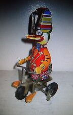 Duck On Bike Tin Litho Wind-Up Toy w/ Box Fully Functional
