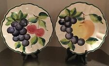 "Pizatto Italian Luncheon Dinner Plates Hand Made Hand Painted 9.5"" Fluted"
