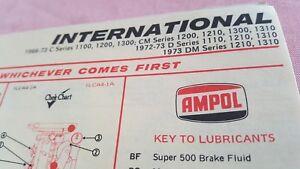 1966 - 1973 INTERNATIONAL TRUCKS  - AMPOL Australia  Lubrication Chart