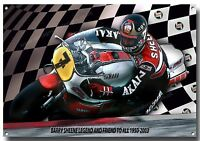 BARRY SHEENE METAL SIGN,BRITISH MOTOR CYCLE RACING,ICONIC MOTORCYCLE RACER.check