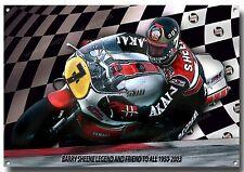 BARRY SHEENE metallo segno, BRITISH MOTOR CYCLE Racing, iconico CONTROLLO MOTO PILOTA.