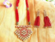 Ethnic Indian Red Beads Kundan Imitation Necklace Set/Meenakari Necklace Set