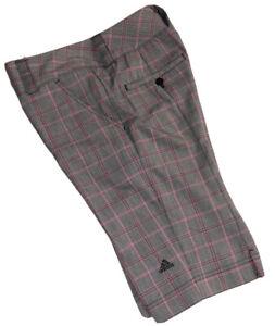 Adidas Golf Shorts Size 2 Plaid Bermuda Gray Pink Stretch Performance Women