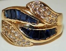 14 Carat Yellow Gold Sapphire Eternity Fine Gemstone Rings