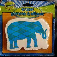 """2 JUMBO ERASERS new in pkgs gag gift school office use """" WHITE ELEPHANT"""" + Gift"""