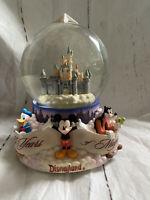 Big Disneyland Music Snow Globe 45 Years Of Magic 7x6 Mickey Donald Goofy