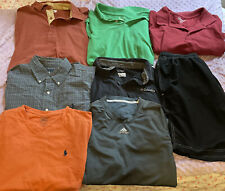 Men's Clothing lot of 8 Polos T-Shirt Button Down Shorts Size Medium Brand Named