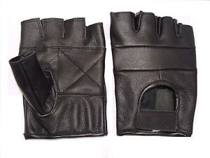 Leather Fingerless Gloves weight training gym cycling driving gloves goth gloves
