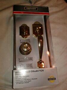 Defiant Springfield Single Cylinder Polished Brass Door Handleset  NEW