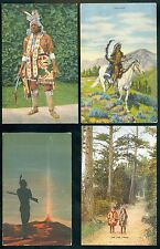4- Native American-Indian Post cards 1910-1930 era     4 postal unused