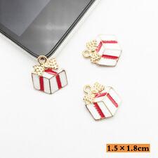 10PCS Gift Charm Pendants Enamel Father Christmas Box Gold Tone 15mmx18mm
