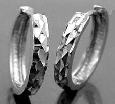 925 ECHT SILBER RHODINIERT *** Klapp-Creolen 13 mm, diamantiert