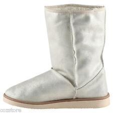 Aldo Cancio Silver Mid Calf Winter Snow Cold Weather Boots Short EU 38.5 US 8 B