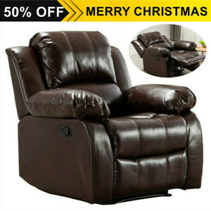 Overstuffed Recliner Chair Heavy Duty Frame Padded Sofa Wide Seat Air Leather