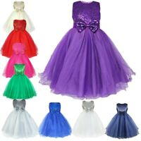Flower Girls Dresses Glitter Party Bow Dress Wedding Pageant Formal Evening Gown