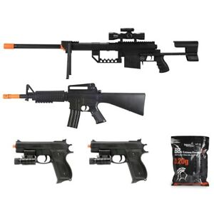5 PC AIRSOFT GUNS SET SPRING SNIPER RIFLE HAND PISTOLS w/ 1000 6mm BB BBs Lot