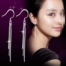 Women's Long Tassel Earrings Dangle 925 Sterling Silver Plated Pendant Shiny New